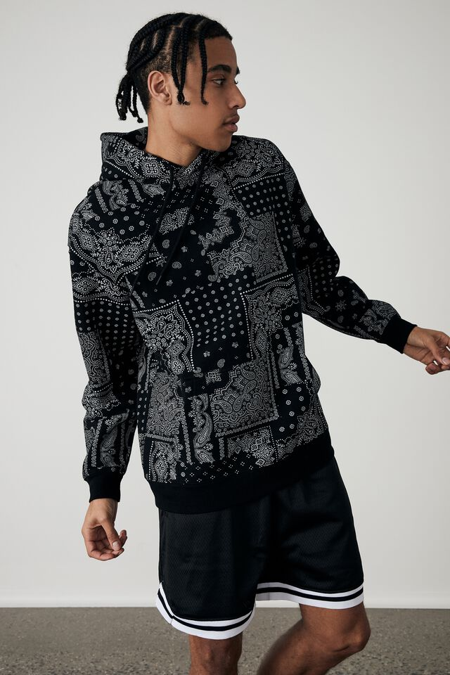 Oversized Graphic Hoodie, BLACK/BANDANA