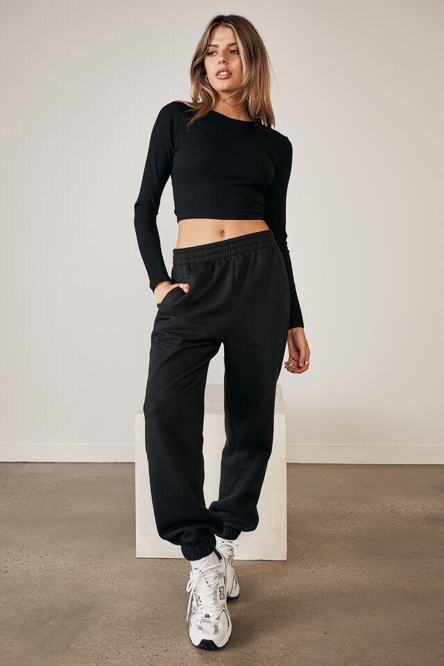 Long Sleeve Back Detail Top, BLACK