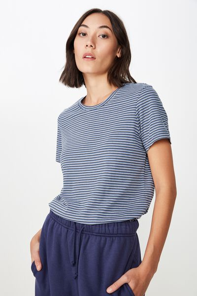 Basic T Shirt Stripe, LILIA STRIPE_MOONLIGHT BLUE