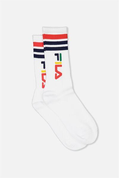 Fila Ribbed Sock, FILA LCN_VERT LOGO_WHITE