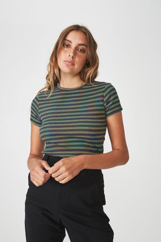 Short Sleeve Rib T Shirt Stripe, DANCING STRIPE