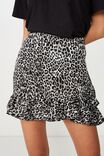 Satin Ruffle Skirt, GREY ANIMAL
