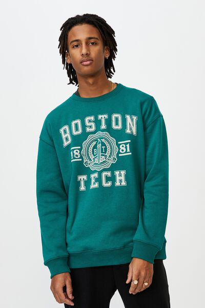 Oversized Graphic Crew, GREEN/BOSTON TECH