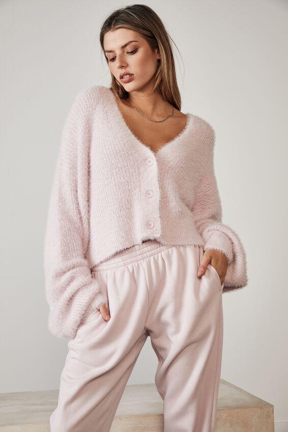 Fluffy Knit Boxy Crop Cardi, LILAC SNOW