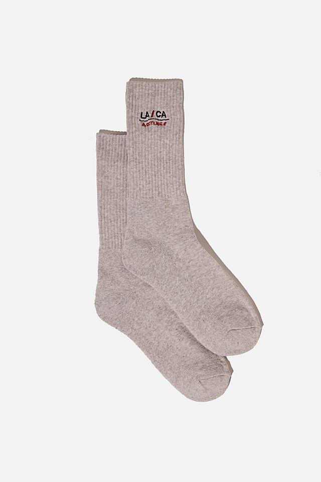 Retro Ribbed Socks, GREY MARLE LA CA