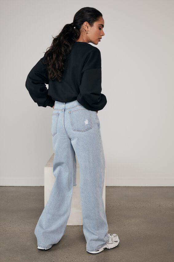 90 S Straight Leg Jean, 90 S BLUE - RIPPED