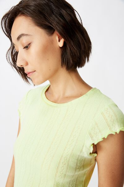 Short Sleeve Pointelle Top, LIME CREAM