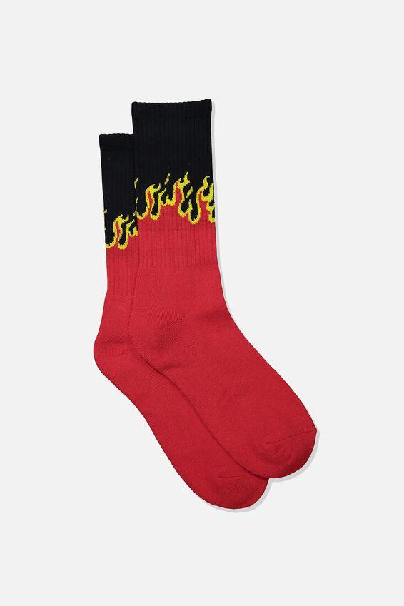 Retro Ribbed Socks, BLAZE_RED