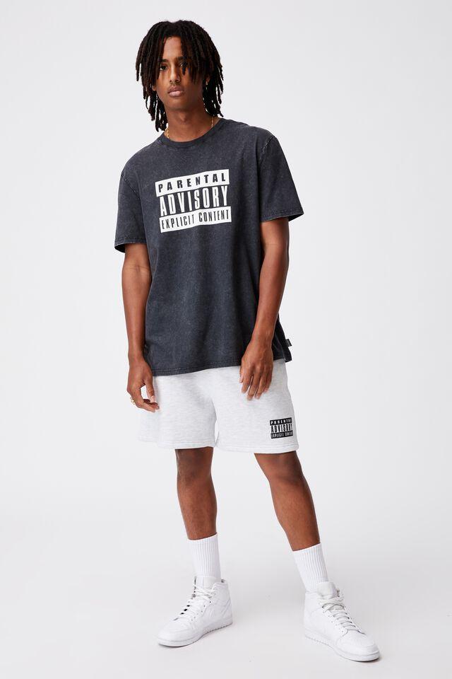 Regular Pop Culture T Shirt, LCN PAD WASHED BLACK/PARENTAL ADVISORY LARGE