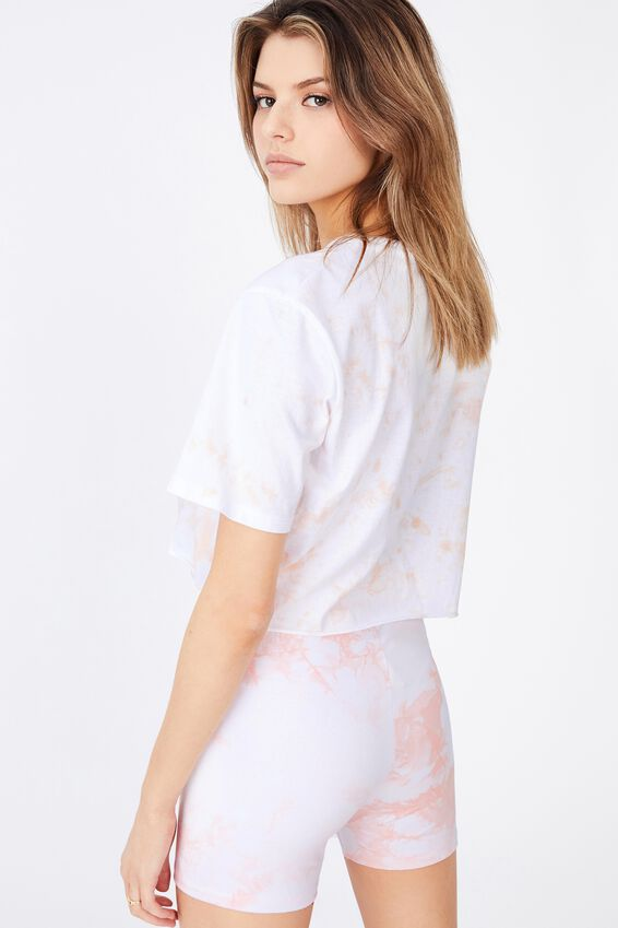Short Sleeve Raw Edge Crop Graphic T Shirt, PINK TIE DYE/GOOD VIBES ONLY