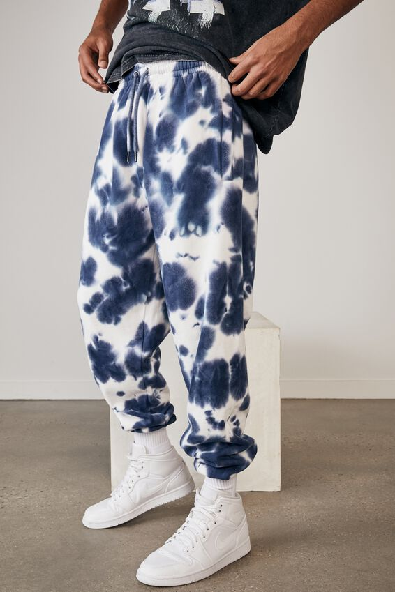 Relaxed Tie Dye Trackpant, INDIGO BLEED TIE DYE