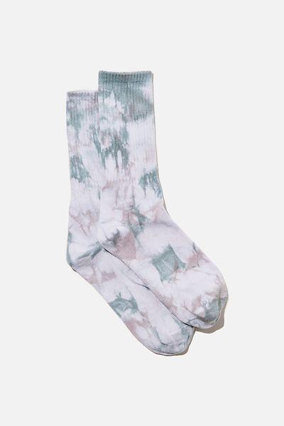 Retro Ribbed Socks, WHITE/GREY/BLUE TIE DYE