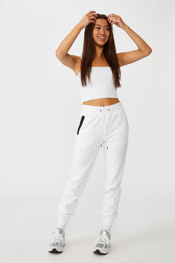 Tech Slim Trackpant, WHITE