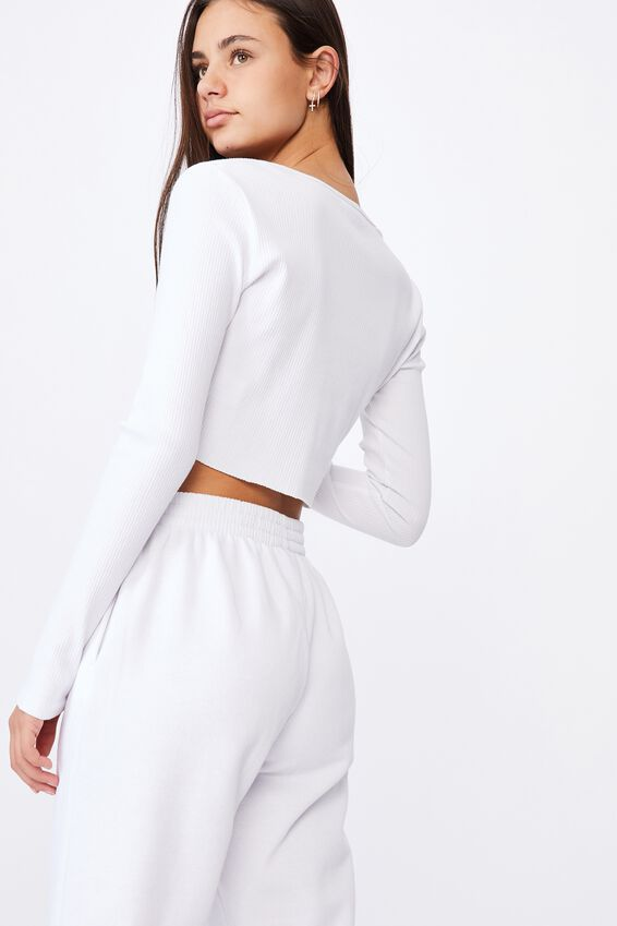 Long Sleeve Crop Rib Cardi, WHITE