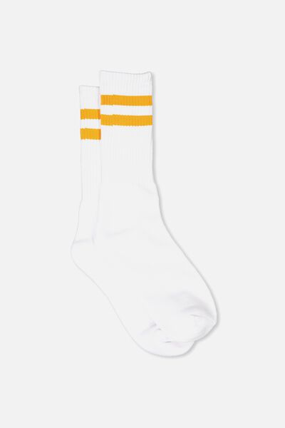 Retro Ribbed Socks, WHITE_ORANGE STRIPE