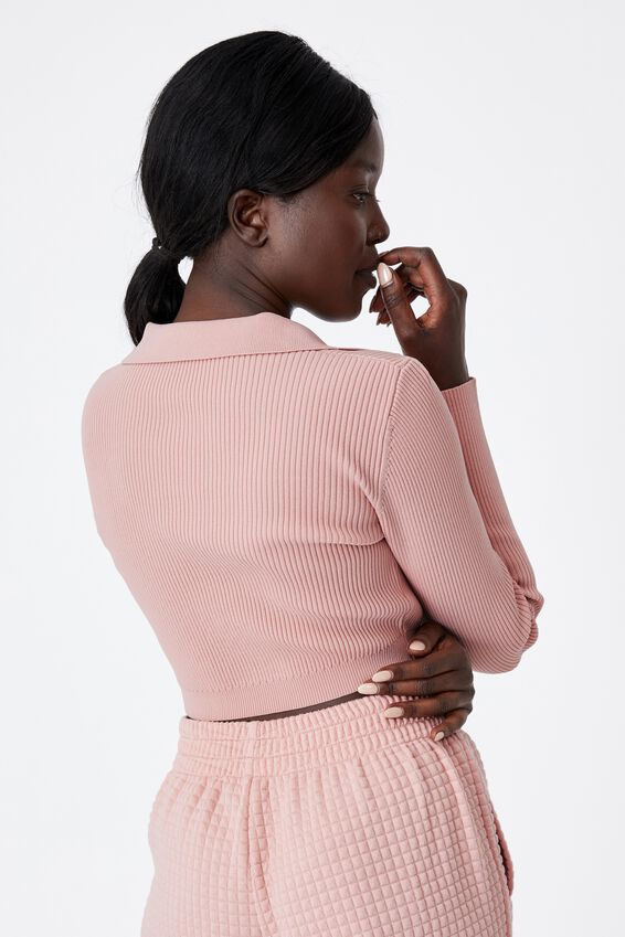 Ultra Crop Long Sleeve Top, SILVER PINK