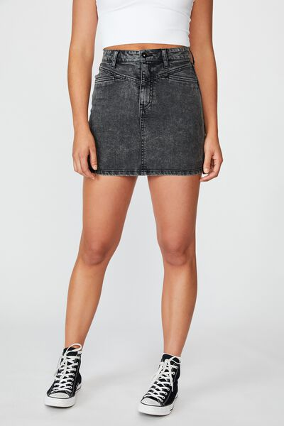 Panelled Denim Skirt, ACID BLACK