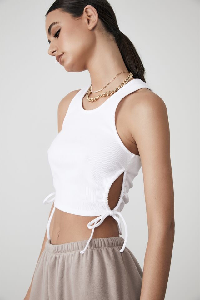 Ruched Cut Out Tank, WHITE