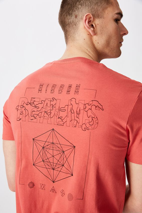 Curved Graphic T Shirt, SPICED CORAL/MYSTIC