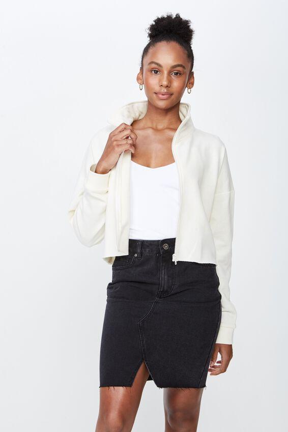 Boxy Zip Thru Jacket, OFF WHITE