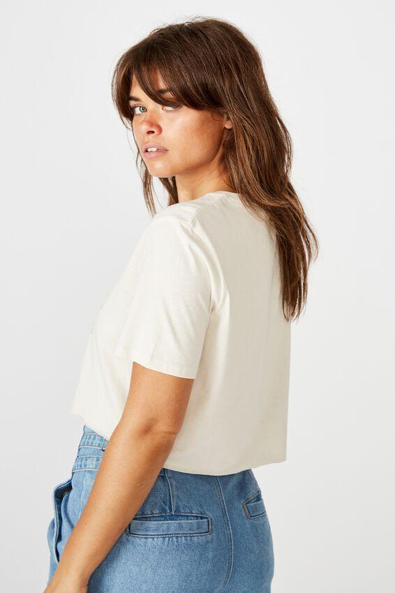 Short Sleeve Raw Edge Crop Graphic T Shirt, WASHED IVORY/BLACK HILLS EAGLE