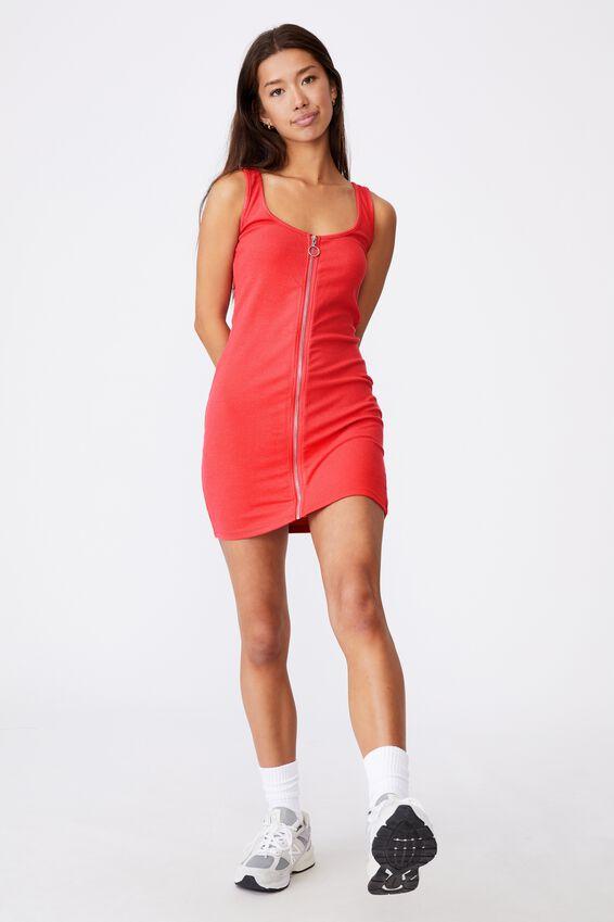 Zipper Front Dress, RED APPLE
