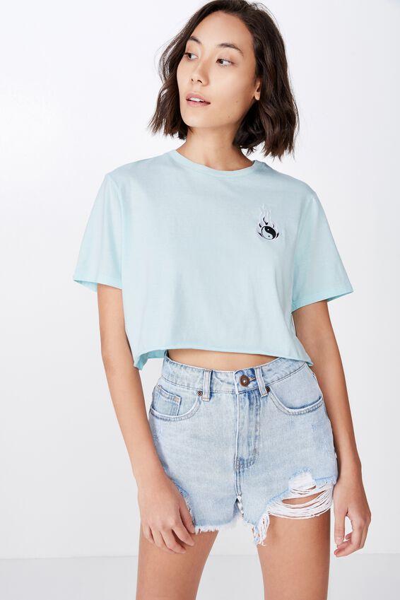 Short Sleeve Raw Edge Crop T Shirt, BLUE GLOW/YIN YANG