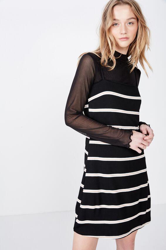 Stripe Ponte Dress, LELE STRIPE BLACK
