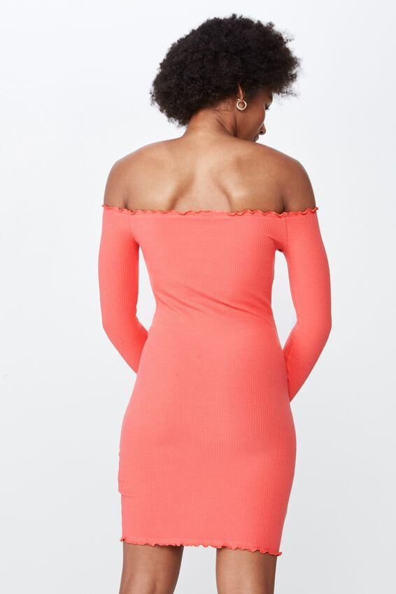 Rib Off Shoulder Dress, MELON PEACH