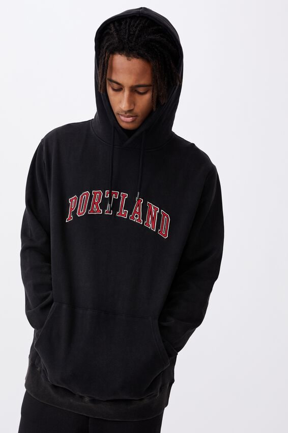 Elite Oversized Hoodie, WASHED BLACK/PORTLAND