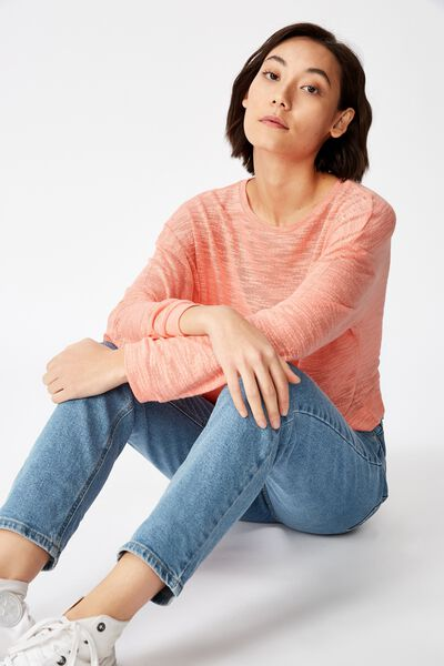 Long Sleeve Textured Top, CANDLELIGHT PEACH