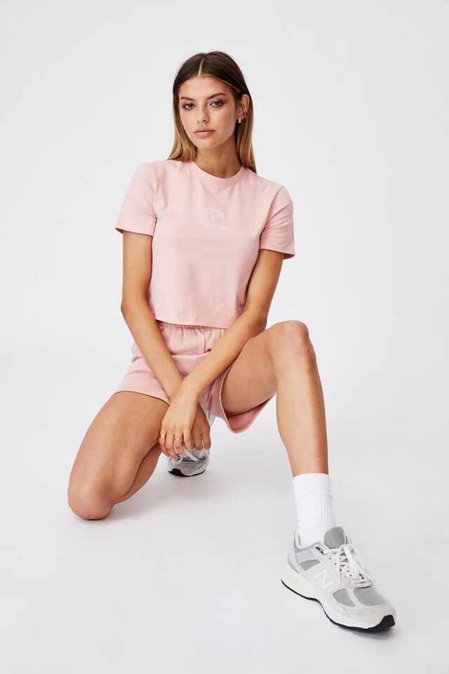 Fitted Graphic T Shirt, SILVER PINK/RICH IN HAPPINESS