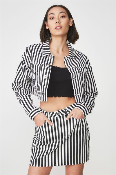 Crop Denim Jacket 2, BLACK/WHITE STRIPE