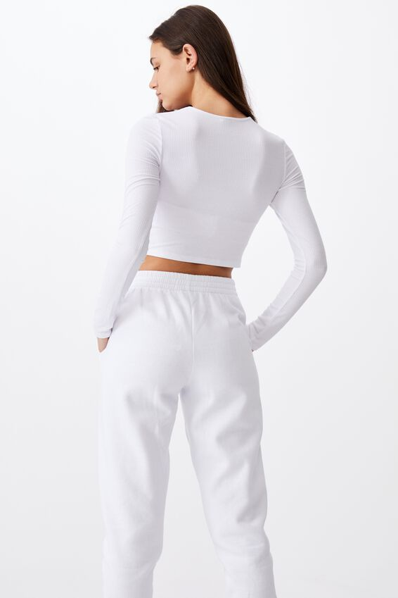 Key Hole Front Long Sleeve Top, WHITE
