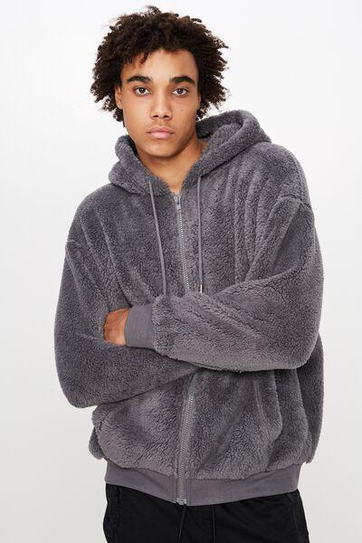 Soft Teddy Zip Through Jacket, TORNADO
