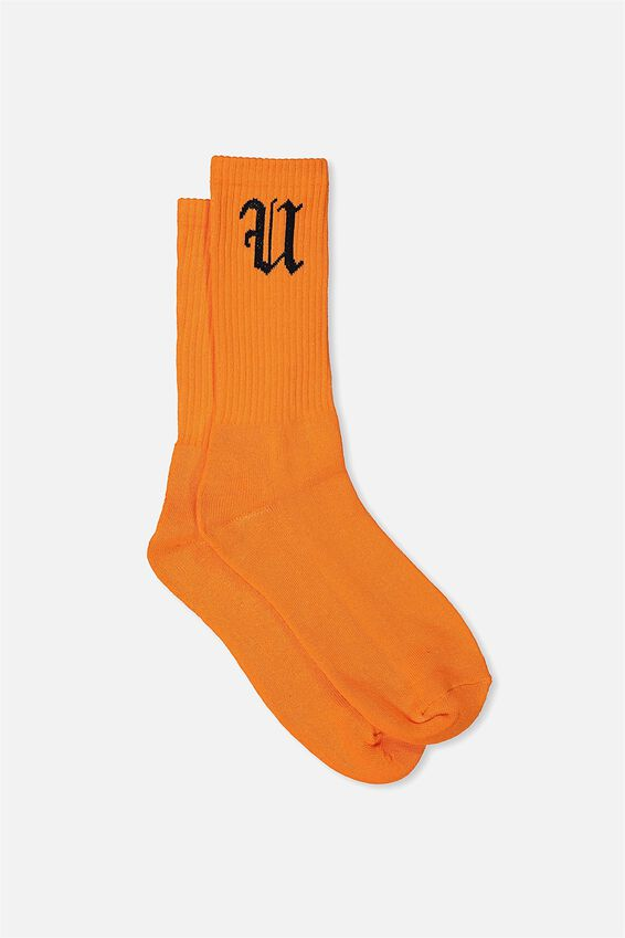 Retro Ribbed Socks, SOLID ORANGE FU