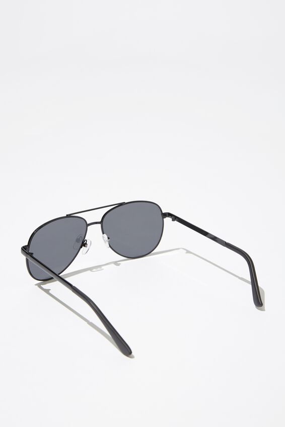 Metal Aviator Sunglasses, S.BLK_SMK