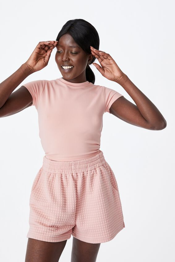 Ruched Short Sleeve Backless Top, SILVER PINK