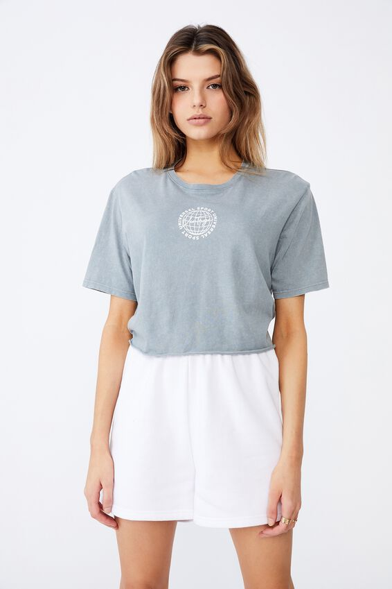 Short Sleeve Raw Edge Crop Graphic T Shirt, WASHED GREY/VINTAGE GLOBE