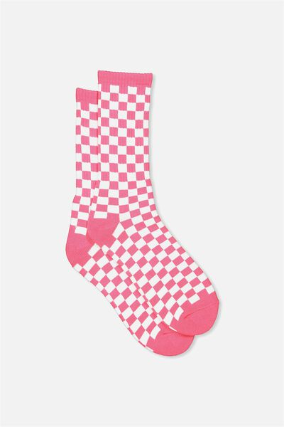 Retro Ribbed Socks, PINK CHECKERS