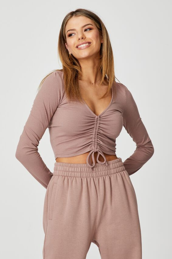 Long Sleeve Pull Front Top, DIRTY BLUSH