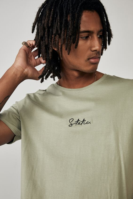 Curved Graphic T Shirt, SAGE/STATIC
