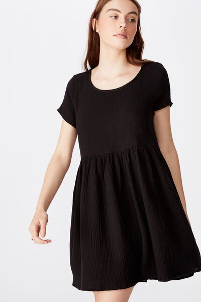 Short Sleeve Babydoll Dress, BLACK