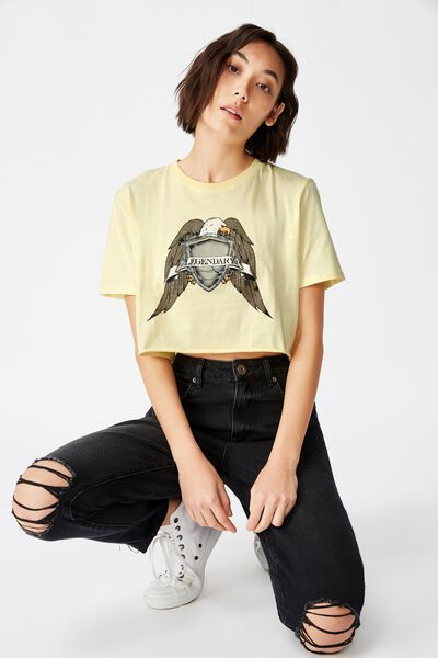 Short Sleeve Raw Edge Crop T Shirt, PASTEL YELLOW/EAGLE CREST