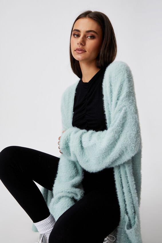 Fluffy Knit Longline Cardigan, ETHER