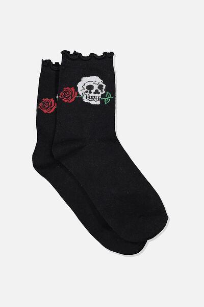 Embroidered Ruffle Edge Sock, SKULL_ROSE