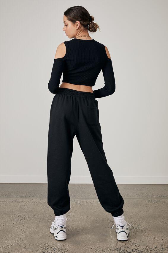 Cold Shoulder Long Sleeve Top, BLACK/LMTD 3.0