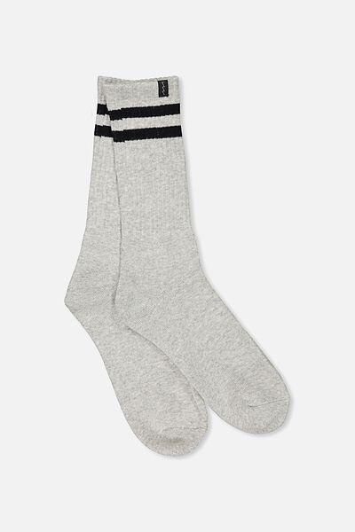 Retro Ribbed Socks, GREY MARLE RETRO STRIPE