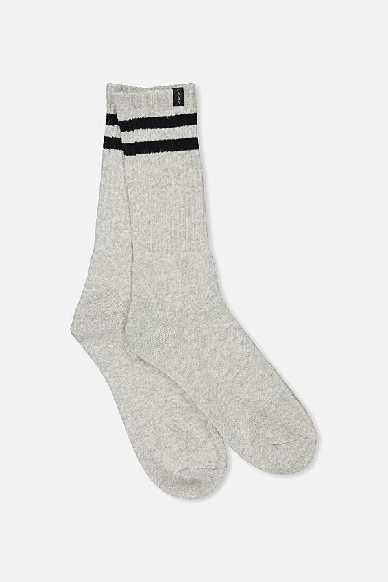 Retro Ribbed Socks, GREY MARLE RETRO STRIPE