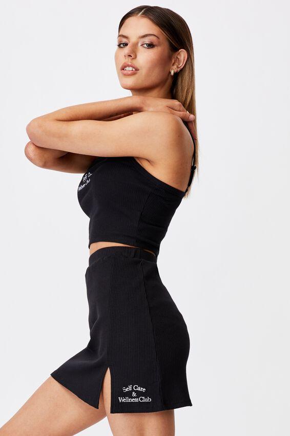 Rib Side Split Skirt, BLACK/WELLNESS CLUB